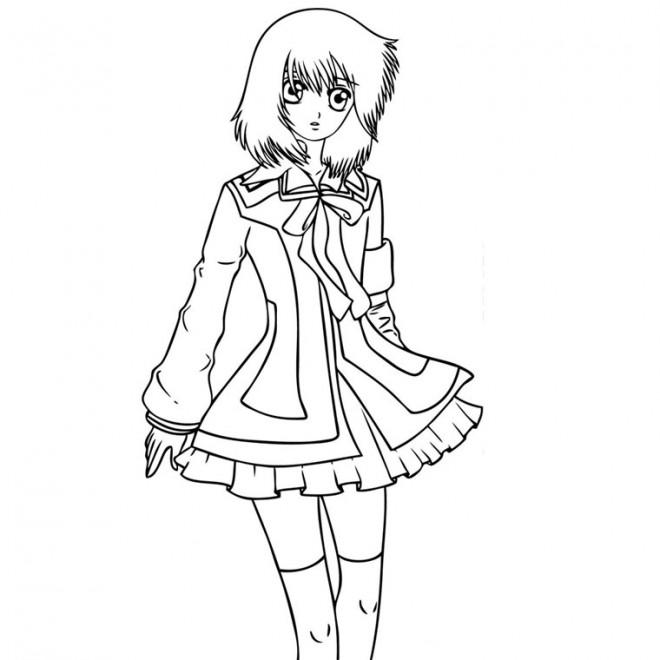 Coloriage et dessins gratuits Fille Manga splendide à imprimer