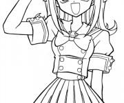 Coloriage et dessins gratuit Fille Manga te salue à imprimer