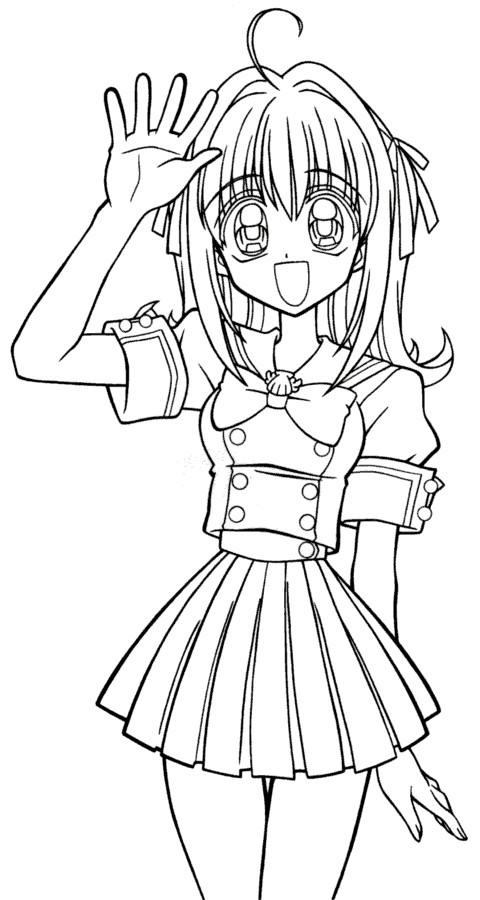 Coloriage et dessins gratuits Fille Manga te salue à imprimer