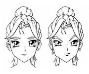 Coloriage et dessins gratuit Tête de Fille Manga à imprimer