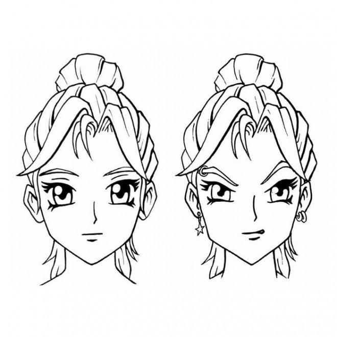 Coloriage t te de fille manga dessin gratuit imprimer - Coloriage manga difficile ...