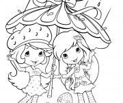 Coloriage et dessins gratuit Fraisinette aime la pluie à imprimer