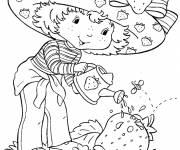 Coloriage et dessins gratuit Fraisinette arrose son jardin à imprimer