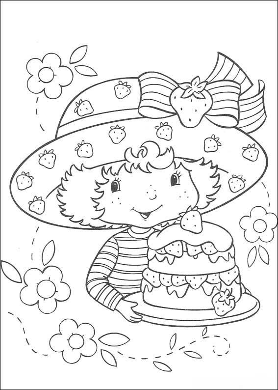 Coloriage et dessins gratuits Fraisinette cuisina un gateau de fraise à imprimer