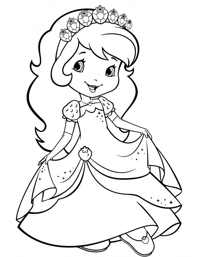Coloriage et dessins gratuits Fraisinette en robe en ligne à imprimer