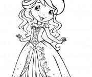 Coloriage et dessins gratuit Fraisinette en une belle robe gratuit à imprimer