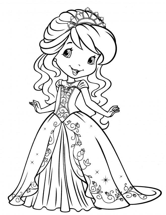 Coloriage et dessins gratuits Fraisinette en une belle robe gratuit à imprimer
