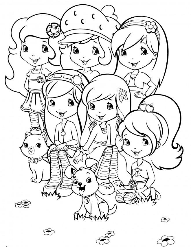 Coloriage et dessins gratuits Fraisinette et ses amies à imprimer
