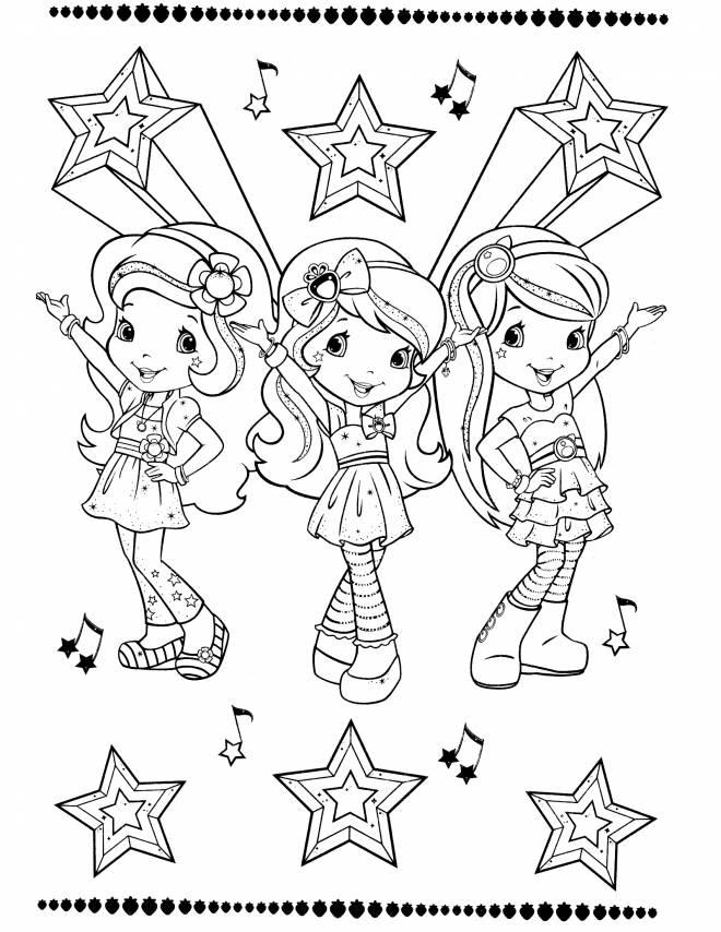 Coloriage et dessins gratuits Fraisinette et ses amies dansent à imprimer