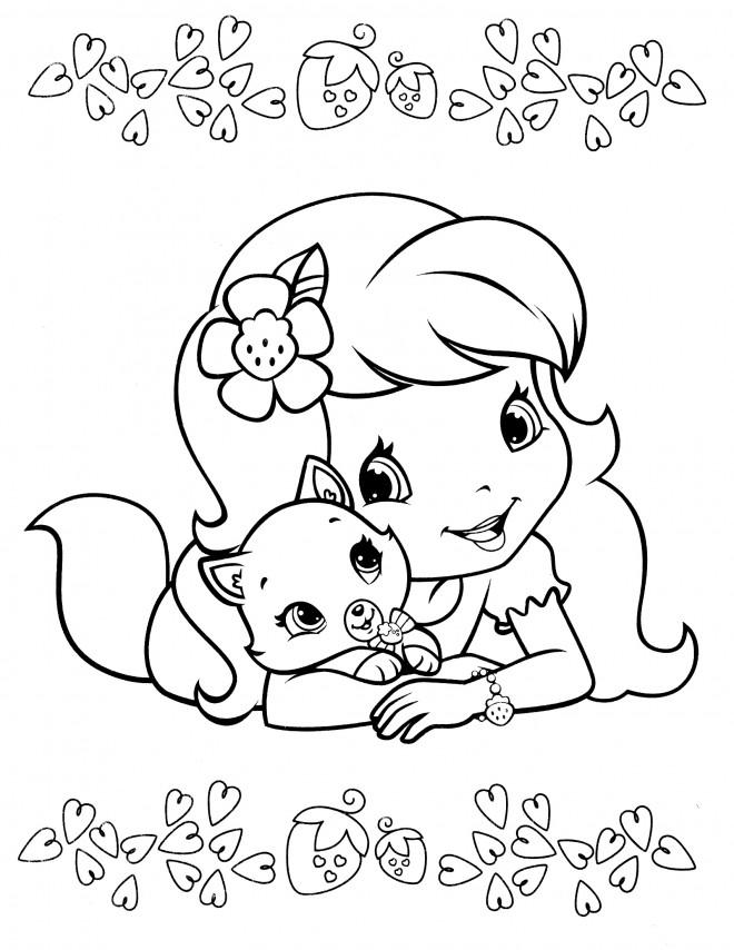 Coloriage et dessins gratuits Fraisinette et son chat en ligne à imprimer