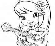 Coloriage et dessins gratuit Fraisinette joue de la guitare à imprimer