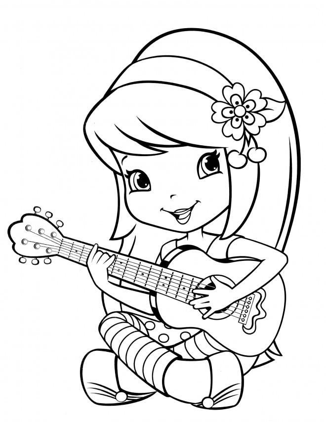 Coloriage et dessins gratuits Fraisinette joue de la guitare à imprimer