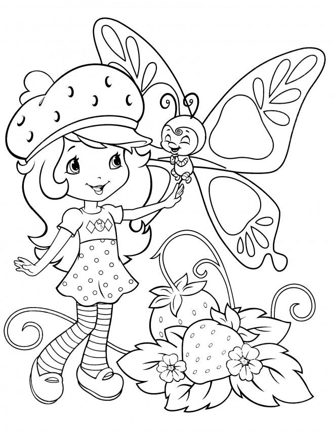Coloriage et dessins gratuits Fraisinette parle avec un papillon à imprimer