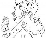 Coloriage et dessins gratuit Fraisinette se regarde dans le mirroir à imprimer