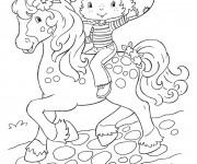 Coloriage et dessins gratuit Fraisinette sur son cheval gratuit à imprimer