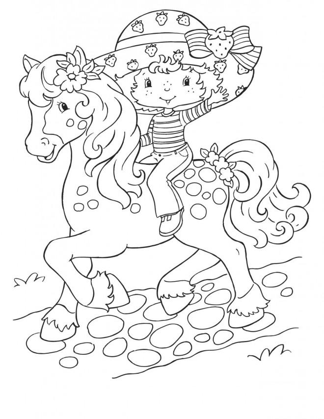 Coloriage et dessins gratuits Fraisinette sur son cheval gratuit à imprimer