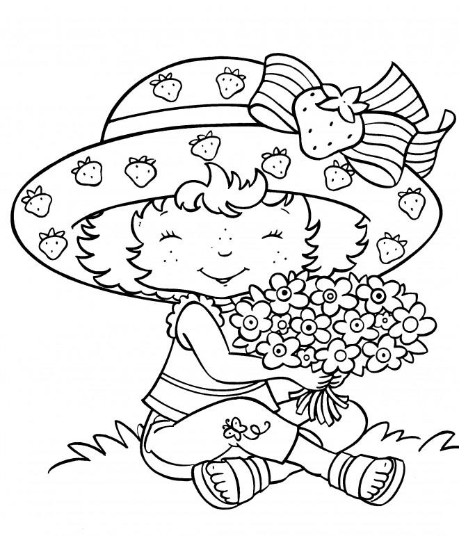 Coloriage et dessins gratuits Fraisinette tient un bouquet de fleurs à imprimer