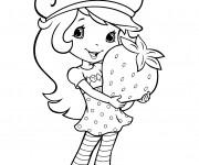 Coloriage et dessins gratuit Fraisinette tient une énorme fraise à imprimer