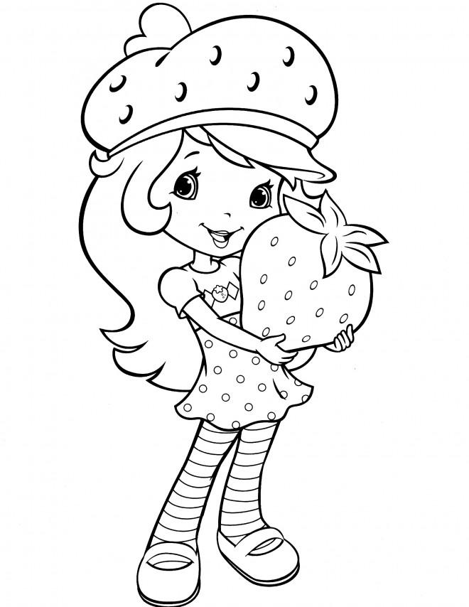 Coloriage et dessins gratuits Fraisinette tient une énorme fraise à imprimer