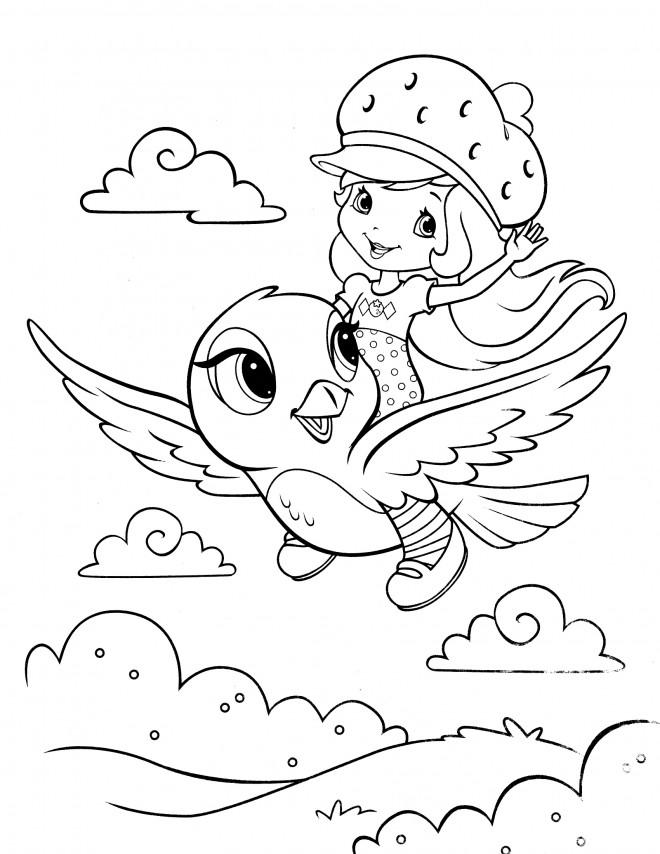 Coloriage et dessins gratuits Fraisinette vole sur un oiseau à imprimer