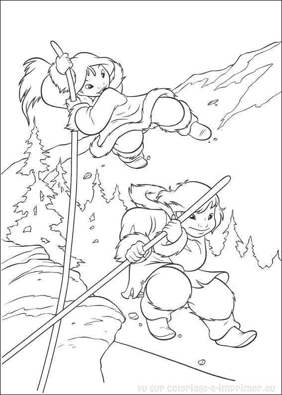 Coloriage et dessins gratuits Frère des ours  à découper à imprimer