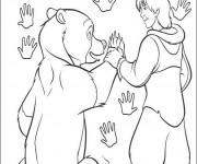 Coloriage et dessins gratuit Frère des ours Kenai et Nita à imprimer