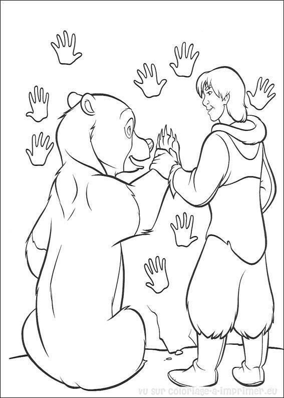 Coloriage et dessins gratuits Frère des ours Kenai et Nita à imprimer