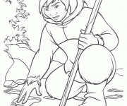 Coloriage Kenai L'indien dans La forêt