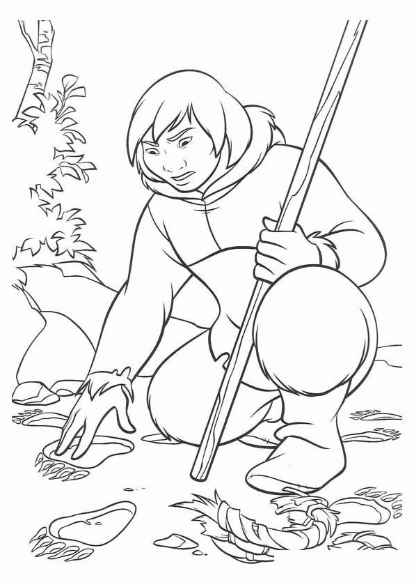 Coloriage et dessins gratuits Kenai L'indien dans La forêt à imprimer