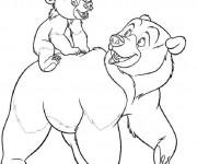 Coloriage et dessins gratuit Kenai Ours et son Père à imprimer