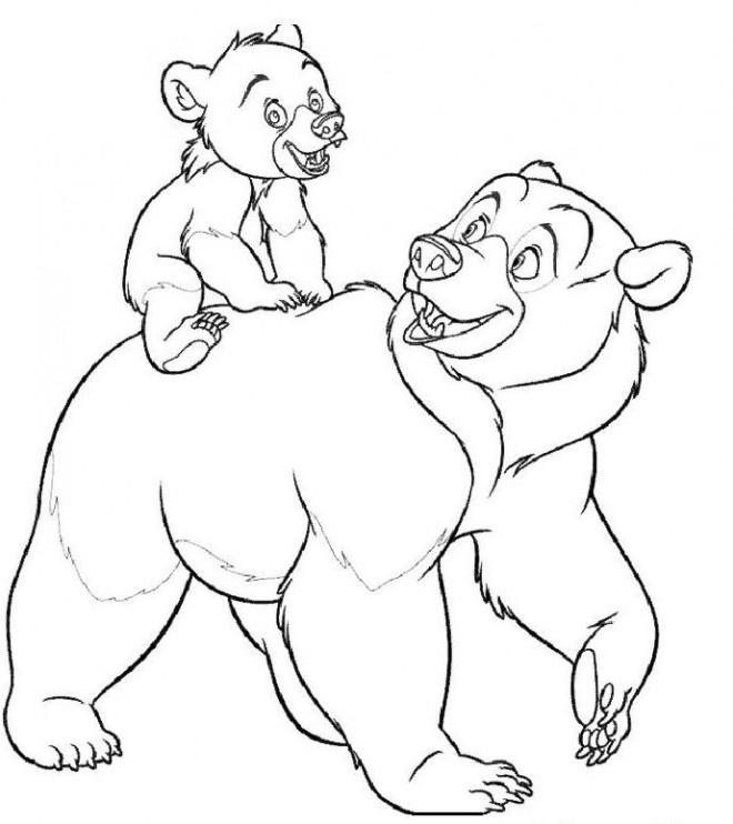 Coloriage et dessins gratuits Kenai Ours et son Père à imprimer