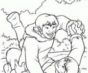 Coloriage Kenai s'amuse dans La forêt
