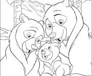 Coloriage Le Petit Ours et Sa Famille