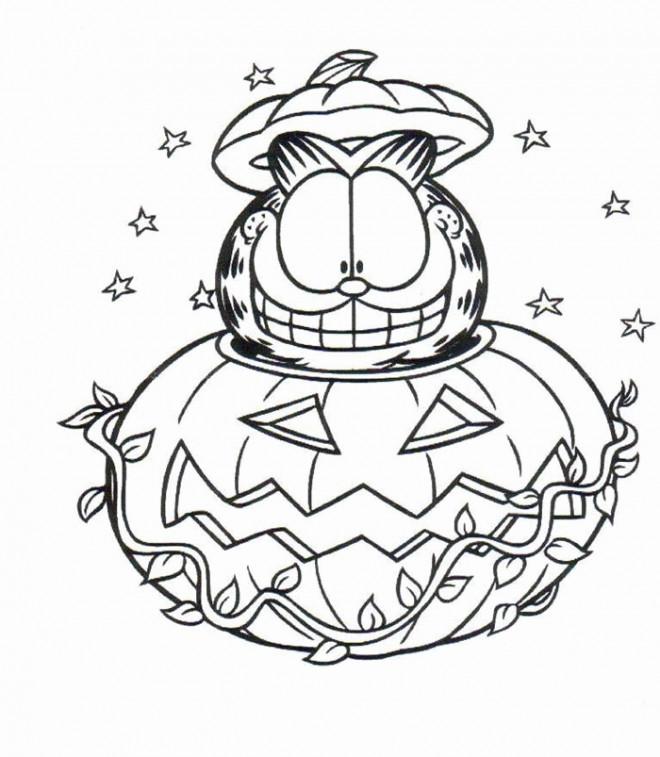 Coloriage et dessins gratuits Garfield en Halloween à imprimer