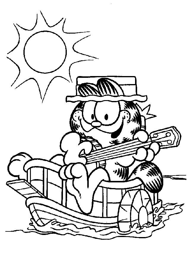 Coloriage et dessins gratuits Garfield entrain de chanter à imprimer
