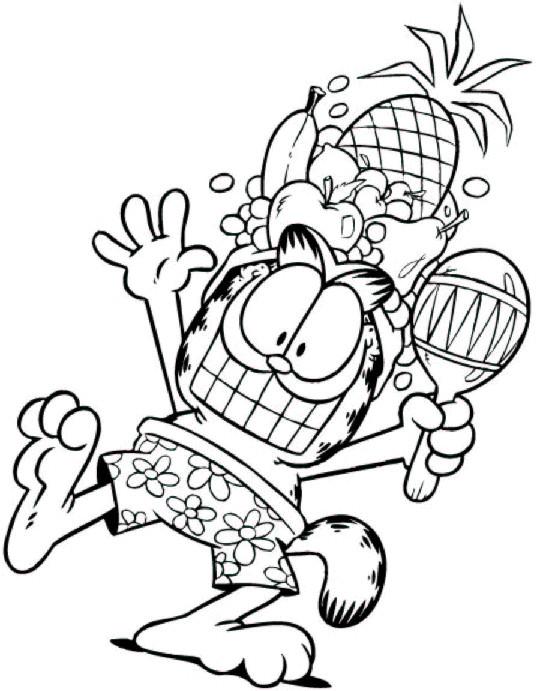 Coloriage et dessins gratuits Garfield entrain de fêter à imprimer