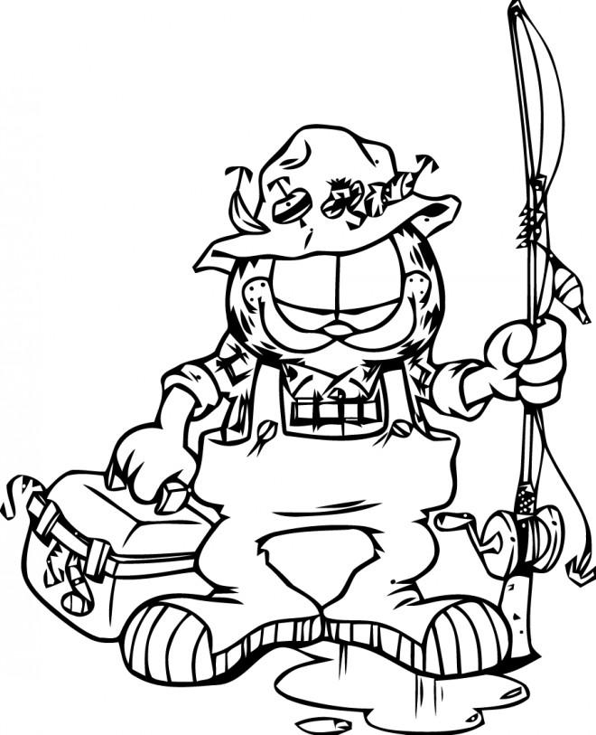 Coloriage et dessins gratuits Garfield le pêcheur à imprimer