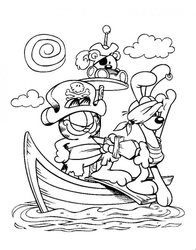 Coloriage et dessins gratuits Garfield part en aventure à imprimer
