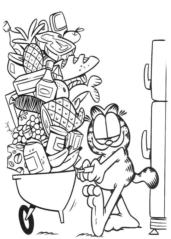 Coloriage et dessins gratuits Garfield se prépare à manger à imprimer