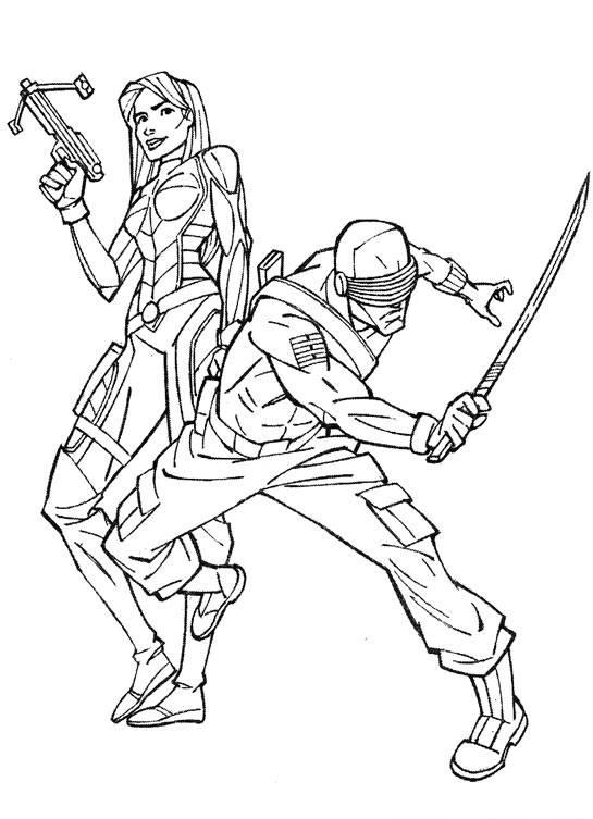Coloriage et dessins gratuits GI-Joe Cobra team au combat à imprimer