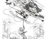 Coloriage et dessins gratuit Un soldat descend du hélicoptere à imprimer