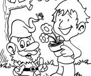 Coloriage et dessins gratuit Dessin Gnomes et enfant à imprimer