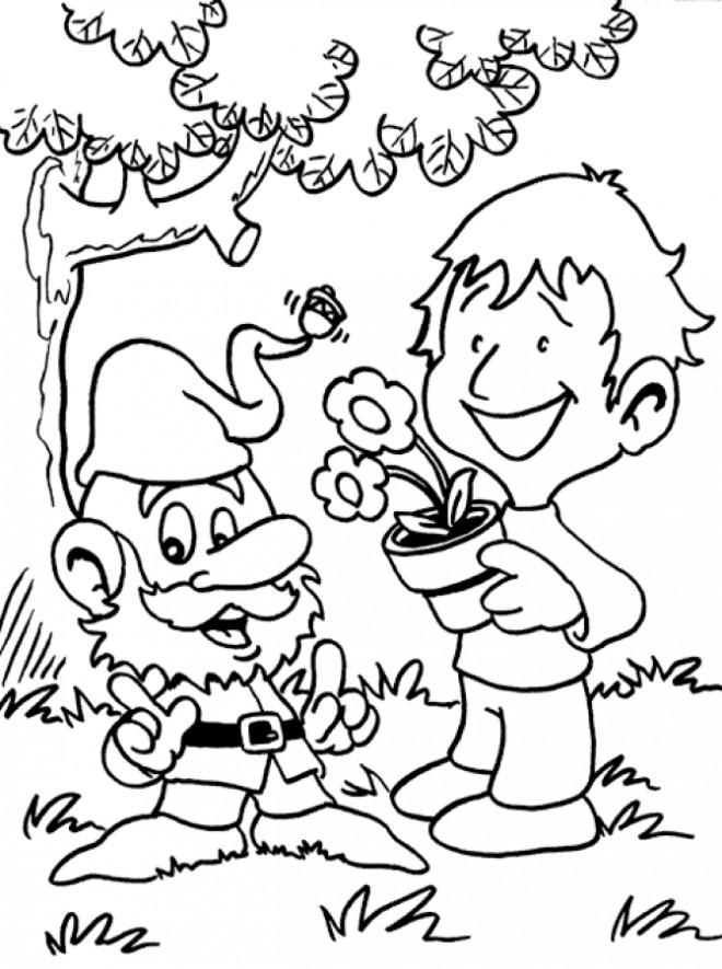 Coloriage et dessins gratuits Dessin Gnomes et enfant à imprimer