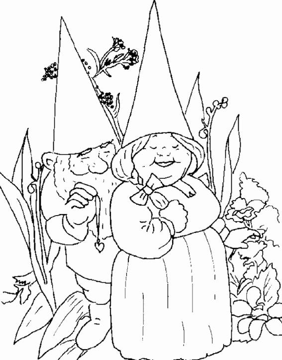 Coloriage et dessins gratuits Gnomes amoureux à imprimer