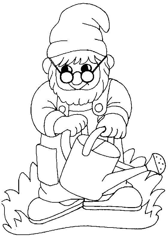 Coloriage et dessins gratuits Gnomes arrose dessin à imprimer