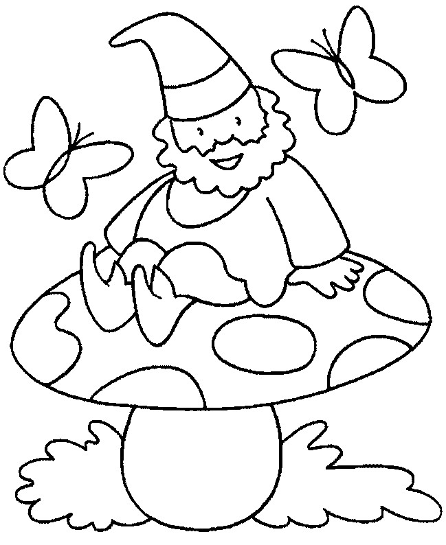 Coloriage et dessins gratuits Gnomes dans la nature dessin animé à imprimer