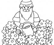 Coloriage et dessins gratuit Gnomes dans le jardin à imprimer