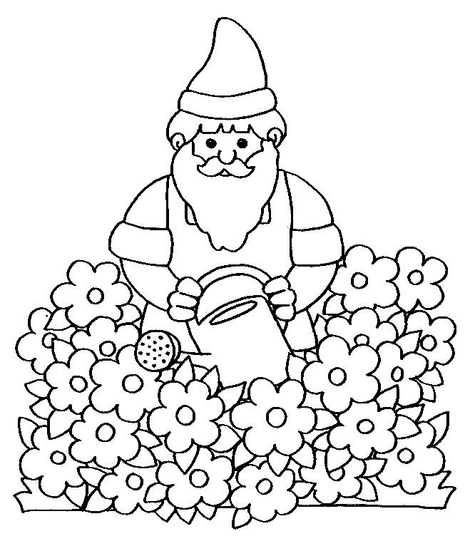 Coloriage et dessins gratuits Gnomes dans le jardin à imprimer