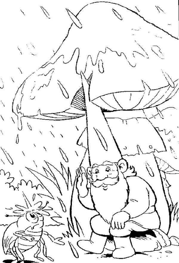 Coloriage et dessins gratuits Gnomes et champignon comme parapluie à imprimer