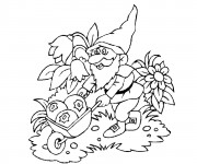 Coloriage Gnomes et fruits